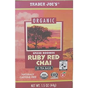 Trader Joe's Organic Spiced Rooibos Ruby Red Chai Tea 20 Bags/box (Pack of 4)