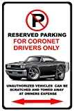 1968 Dodge Coronet RT Muscle Car-toon No Parking Sign