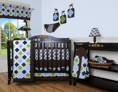Boutique Blue Brown Diamond 13PCS CRIB BEDDING SET