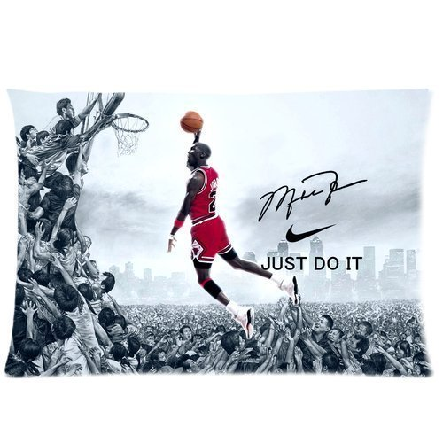 Coolest NBA Chicago Bulls Michael Jordan Custom Zippered Pillowcase Pillow Cases Cover 20x30 (one side) Standard Size NIKE JUST DO IT Dunk