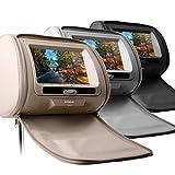 (HD705)7インチ 高画質 ヘッドレスト DVDプレーヤー 2個セット (ブラック)