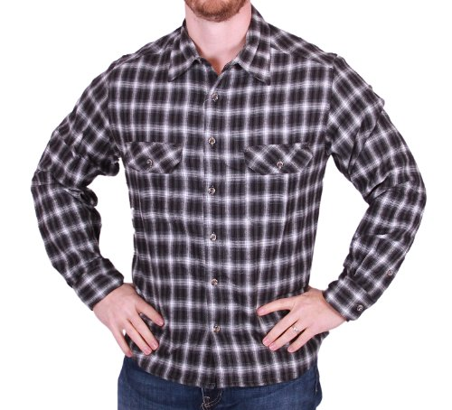 field-stream-mens-button-down-plaid-flannel-shirt-medium-black-plaid