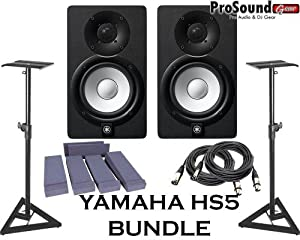 Yamaha HS5 Powered Studio Monitor Pair with XLR-Cables Insolation Monitor PAD and Speaker Stands