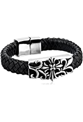Men's Stainless Steel and Woven Black Leather Cross Bracelet, 8.5""