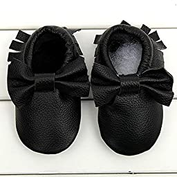 Voberry® Baby Moccasins Bow Shoes Newborn Firstwalker Anti-slip Leather Infant Shoes (S, Black)