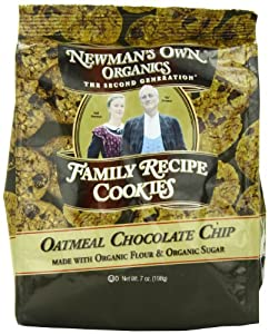 Newman's Own Organics Family Recipe Cookies, Oatmeal Chocolate Chip, 7-Ounce Bags (Pack of 6)