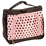 Light Pink Satin Feel Travel Cosmetic Make Up Case Bag W/ Brown Dots