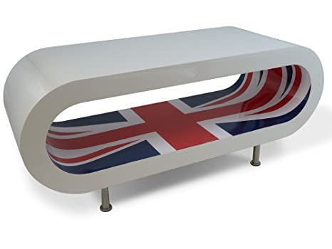 Retro High Gloss White with Union Jack Inner Hoop Coffee Table / TV Stand UK Made Various Sizes