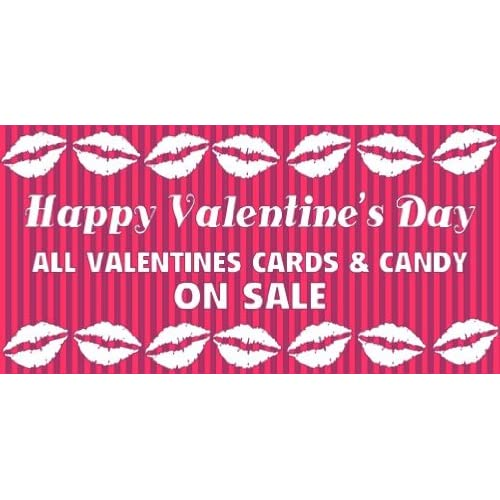 3x6 Vinyl Banner   Happy Valentines Day Cards Candy