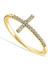 Sideways Cross CZ Yellow Gold Plated Sterling Silver Ring