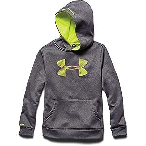 Under Armour Big Boys' UA Storm Armour® Fleece Big Logo Blocked Hoodie (X-Small, CARBON HEATHER)