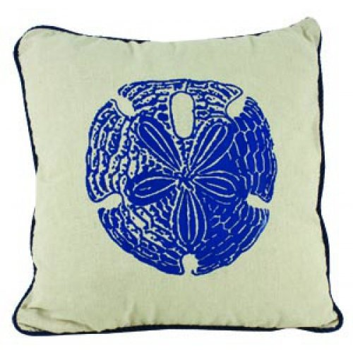 Linen Admiral Sand Dollar Pillow With Navy Blue Square Accent Throw Pillow 15-In X 15-In