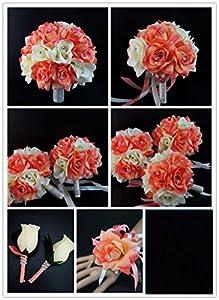 17pc Wedding Flower Bridal Party Flowers With Rhinestone