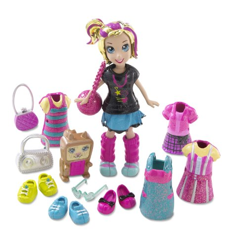 Buy Low Price Mattel Polly Pocket Pop 'N Lock Electropop Polly And Squirrelular Phone Fashion Set Figure (B0037XC26M)