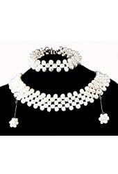 """5.0~6.0mm layered Freshwater Cultured White Pearl Necklace (15"""" length)/Bracelet (7.5"""" length)/Ear Ring Set"""