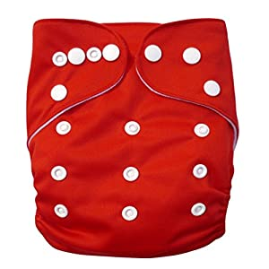 Alva Baby Double Rows of Snaps Cloth Diaper with Two Inserts (Red) B07