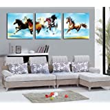 Espritte Art-Large Running Horses, Picture Painting on Canvas Print without Framed, Modern Home Decorations Wall Art set of 3 Each is 50*50cm #D07-256