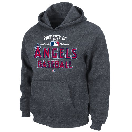 MLB Los Angeles Angels Boy's Property of  Authentic Collection Hooded Fleece, X-Large, Granite