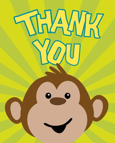 Creative Converting Monkeyin' Around Thank You Notes, 8 Count - 1