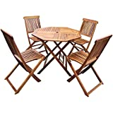 Bentley Garden Wooden Furniture Patio Octagonal Table & 4 Chairs 5Pc Set