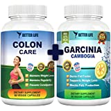 Garcinia Cambogia Extract and Colon Care By BetterLife Nature, As Seen On TV! #1 Best Selling Weight Loss and Detox Supplements Combo. 60 Daily, Veggie, Organic Capsules. FDA Registered 100% Safe
