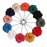Landisun Handmade Men's Flower Lapel Pin Boutonniere for Suits (1 Dozen, Style 3)