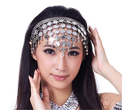 Dreamspell Belly Dance Tribal Metal Headband with Silver Coins, Gypsy Egyptian Jewel