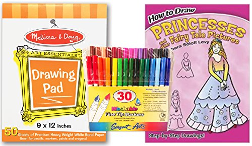 Sargent Art Washable Fine Tip Markers, Melissa & Doug Art Essentials Drawing Pad, and Dover How to Draw Princesses and other Fairy Tale Pictures Guide with Clear, Step by Step Diagrams - Beginner Set (How To Draw Olaf compare prices)