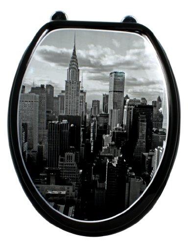 Carpemodo WC Sitz WC Deckel Klodeckel MDF robustem Holzkern Antibakteriell Scharniere aus Metal Größe 43x36 cm Farbe Schwarz Grau Design City