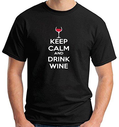 Cotton Island - T-shirt BEER0251 Keep-Calm-and-drink-wine-Magliette, Taglia medium