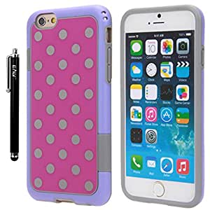 iPhone 6s / iPhone 6 Case, E LV iPhone 6s / iPhone 6 Case Cover Soft Slim Fit Flex Shock-Absorption Bumper Case for Apple iPhone 6s / iPhone 6 with 1 Clear Screen Protector and 1 E LV Microfiber Digital Cleaner - HOT PINK / PURPLE
