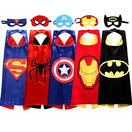 [Superhero Cape and Mask Costumes For Kids Set of 5] (Pj Mask Costume)
