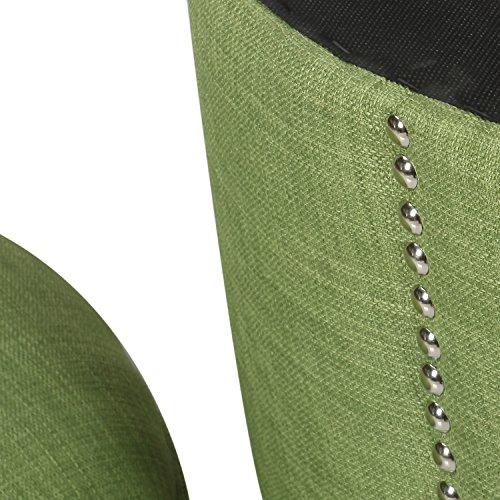 Homebeez Modern Nailhead Trim,Wood Legs,Fabric Storage Ottoman (Green)