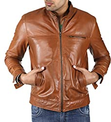 Shagoon Emporium Men's Leather Jacket(sh18000_Brown_Small)