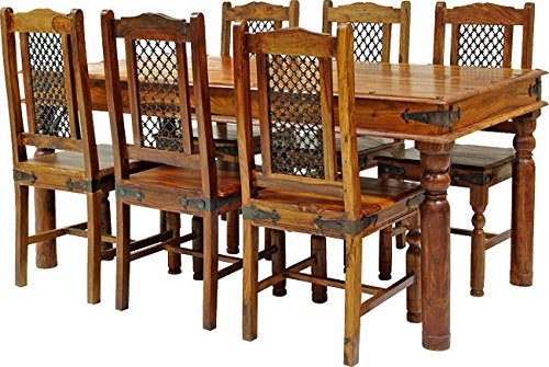 SOLID SHEESHAM WOOD JALI LARGE DINING TABLE WITH 6 CHAIRS