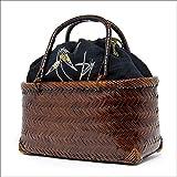 浴衣(ゆかた)用竹カゴ(籠かご)本麻巾着バッグ刺繍リーフ07(黒)