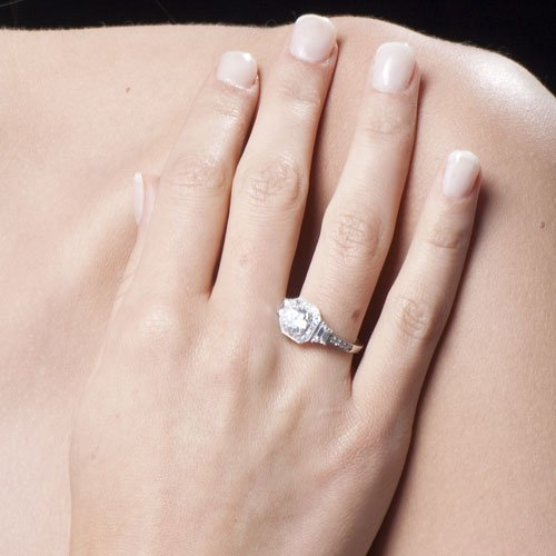 Sterling Silver Ring Round Cubic Zirconia CZ Ring 2.1 ct.tw