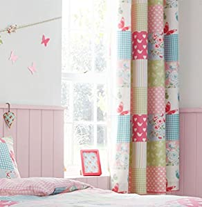 "Patchwork Floral Gingham Pink Blue Green 66"" X 72"" - 168cm X 183cm Ring Top Curtains from Curtains"