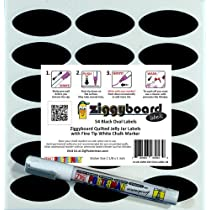 Ziggyboard Chalkboard Jelly Jar Quilted Crystal Canning Labels with Fine Tip White Chalk Marker 54 Oval Shape Stickers