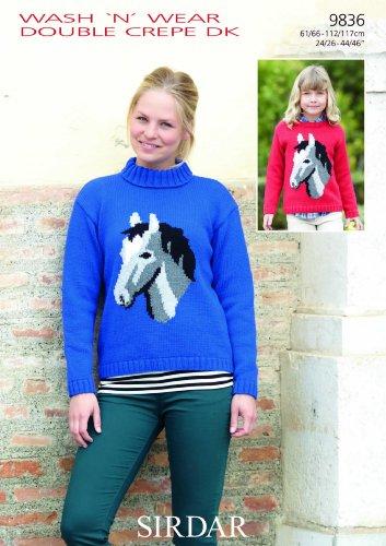 Sirdar Wash Damen/Mädchen 'n'Wear DK Strickmuster Pullover 9836 Pferd Bild
