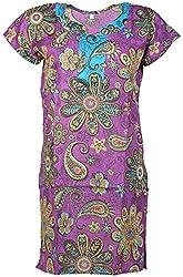 Anshul Textile Women's Cotton Regular Fit Kurta (Violet)