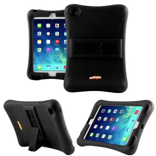 Anitoon Amplifier Speaker Case Cover For Ipad Mini & Ipad Mini With Retina Display Black With Armor Body And Stand