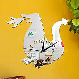 ZQ Modern European and American Stereo Crystal children bedroom cartoon green decorative mirror wall clock Clock 3D dinosaur green Stereo Mute room decoration ideas wall clock , Silver