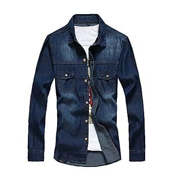 GetUBack Mens Slim Denim Jeans Shirt Casual Camisa Darkblue XXL at