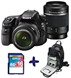 Sony A58 DSLR with 18-55mm & 55-200mm Twin Lens + Backpack + 16GB SD Bundle (Sony Alpha SLT A58 Digital SLR camera kit, 20MP, 2.7