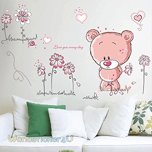wandsticker4u-baby-bar-in-rosa-effektbild100-x75-cm-teddy-baer-blumen-herzchen-entfernbare-wandstick
