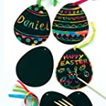 Scratch Art Egg Decorations (Pack of 12)
