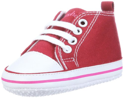 Playshoes Canvas Baby Toddler Sneaker, Babyshoes, Booties (Bordeaux, 0 - 6 Months, Size 17)