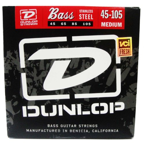 Dunlop Dbs45105 Medium Stainless Steel Bass Guitar 4-String Set, .045-.105 Gauge
