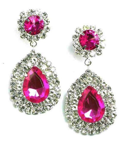Glitzy Glamour - Sparkly fuschia pink crystal and clear diamante drop earrings